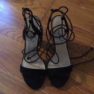 Strappy Black Bork Wedges
